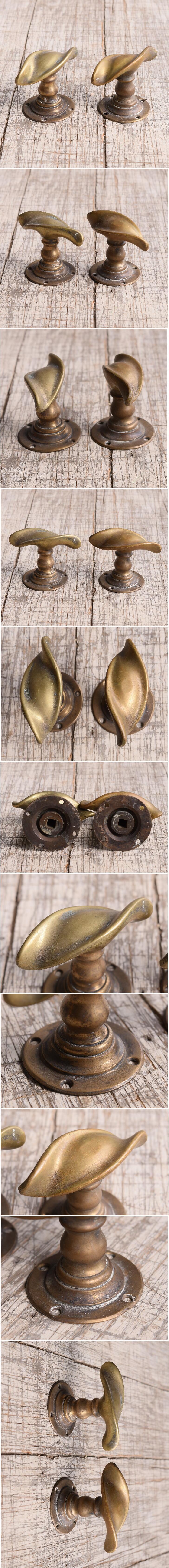 イギリス アンティーク 真鍮 ドアノブ×2 建具金物 握り玉 10015