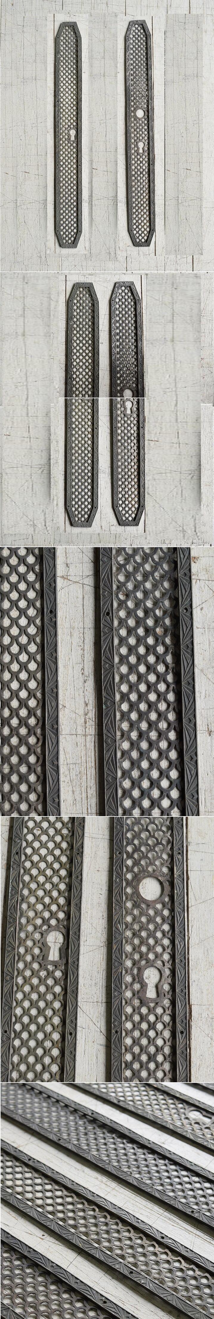 イギリス アンティーク 真鍮フィンガープレート ドアプレート×2 10058