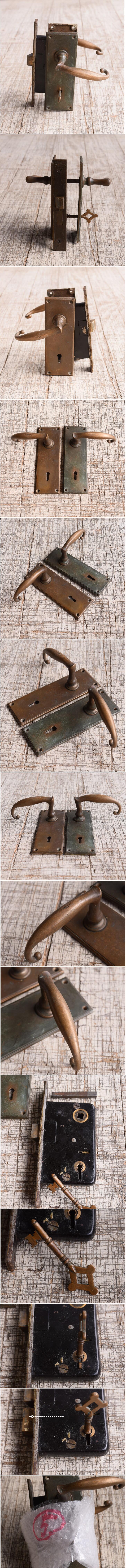 イギリス アンティーク ラッチ&ドアノブ 鍵付き 建具金物 10092