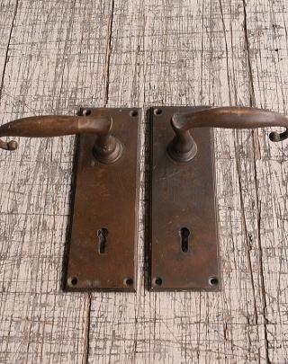 イギリス アンティーク ラッチ&ドアノブ 鍵付き 建具金物 10093