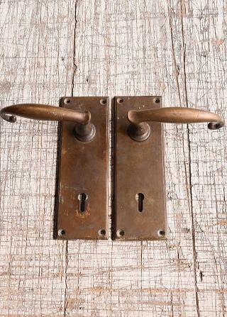 イギリス アンティーク ラッチ&ドアノブ 鍵付き 建具金物 10096