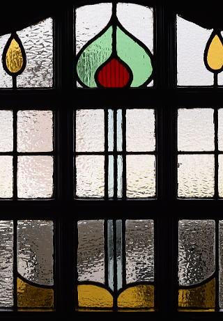 イギリス アンティーク ステンドグラス入り木製ドア 扉 建具 10167