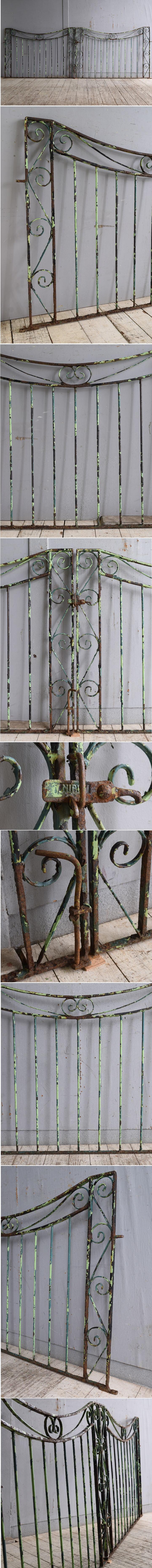 イギリスアンティーク アイアンフェンス ゲート柵 ガーデニング 10243