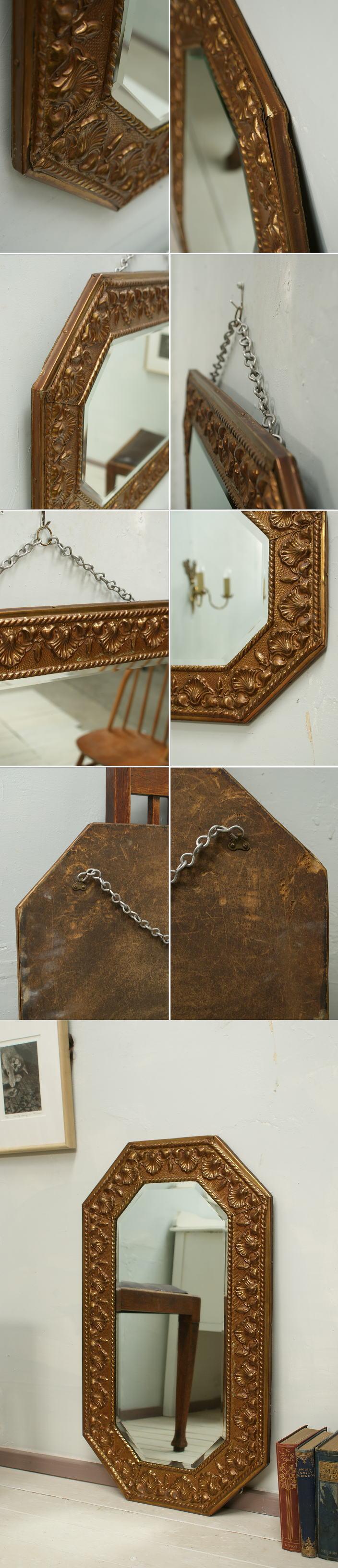 イギリス アンティーク ウォールミラー 壁掛け鏡 ゴージャス1620