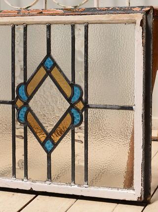 イギリス アンティーク ステンドグラス 幾何学 3941
