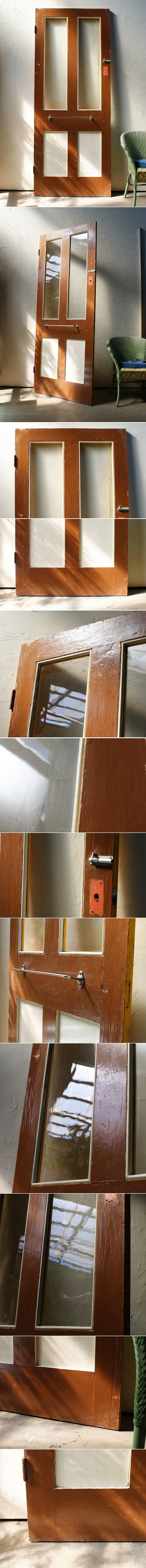 イギリスアンティーク ガラス入り木製ドア 扉 建具 ディスプレイ 4396