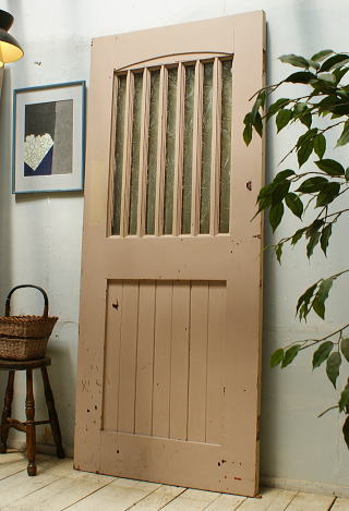 イギリス アンティーク ガラス入り木製ドア 扉 ディスプレイ 建具 5481