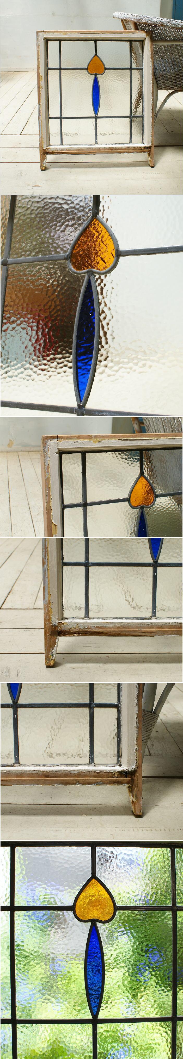 イギリス アンティーク ステンドグラス 幾何学 5498