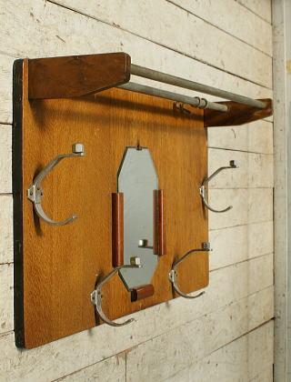 フレンチ ヴィンテージ フック&ラック付き 壁掛けルームミラー 5597