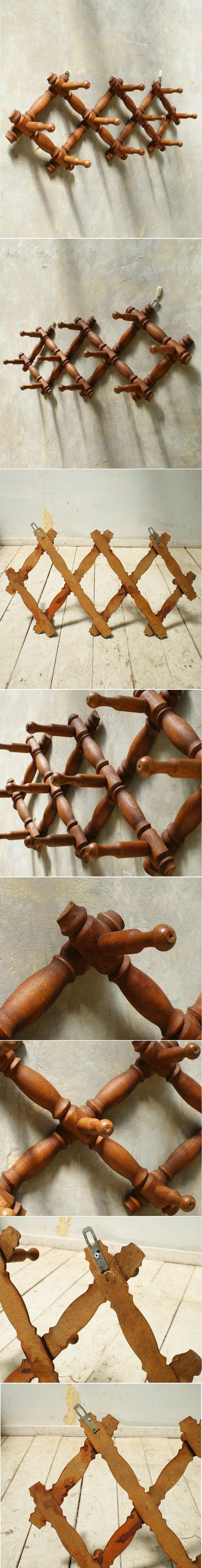 フレンチ アンティーク 木製コート&ハットフック 5622