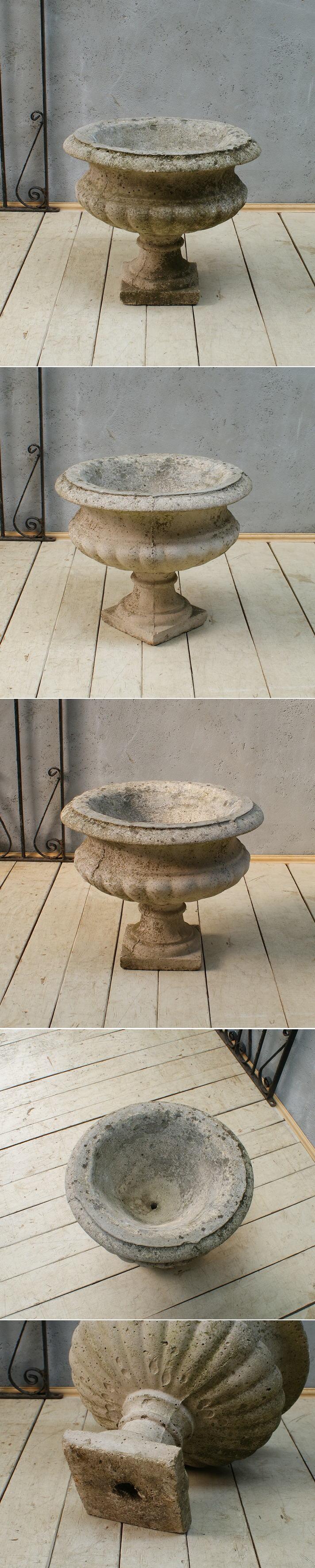 イギリス アンティーク モルタル製 植木鉢 プランター 5972