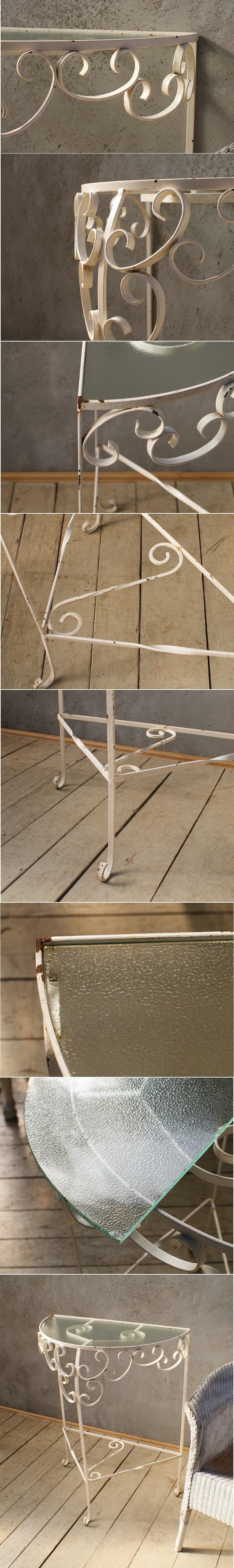 イギリス アンティーク アイアンガラストップテーブル 6014