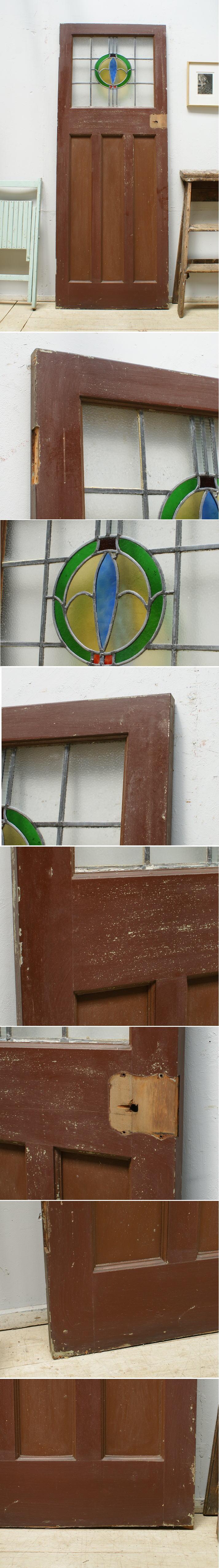 イギリス アンティーク ステンドグラス入り木製ドア 扉 ディスプレイ 建具 6361