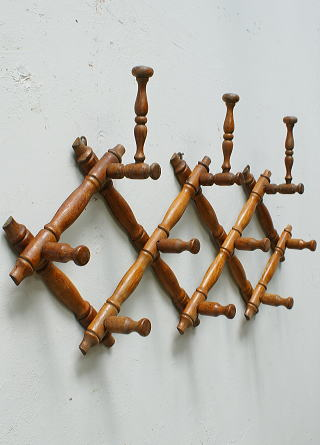 フレンチ アンティーク 木製コート&ハットフック 6390