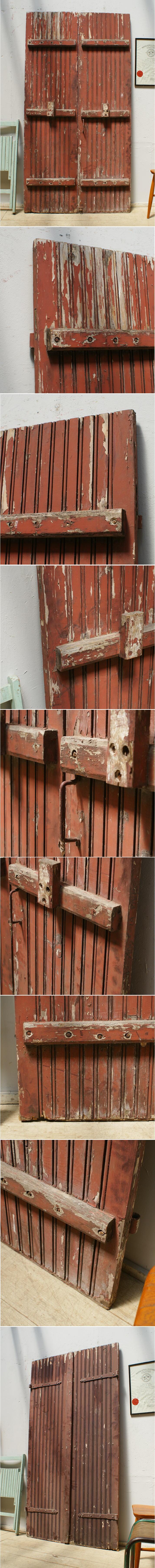 フレンチ アンティーク 木製ドア ペア 扉 ディスプレイ 建具 6405