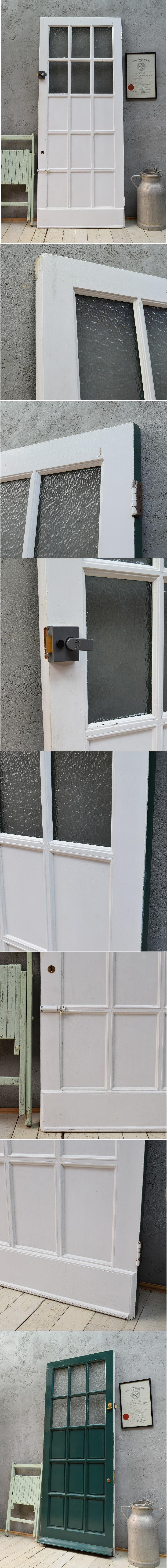 イギリス アンティーク ガラス入り木製ドア 扉 ディスプレイ 建具 6719