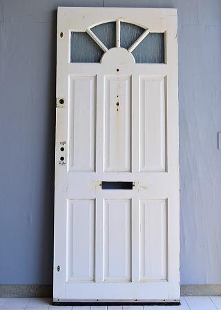 イギリス アンティーク ガラス入り木製ドア 扉 建具 6949