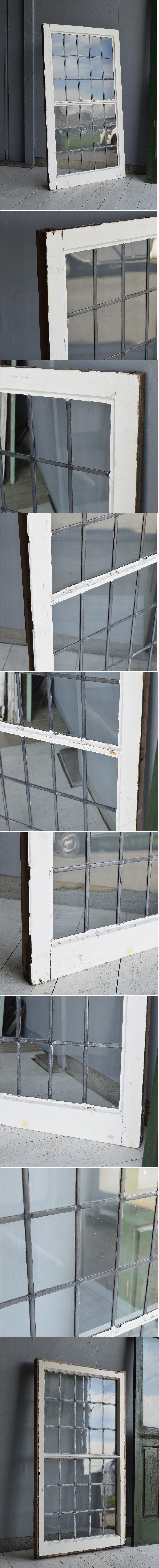 イギリス アンティーク 格子窓 無色透明 7155