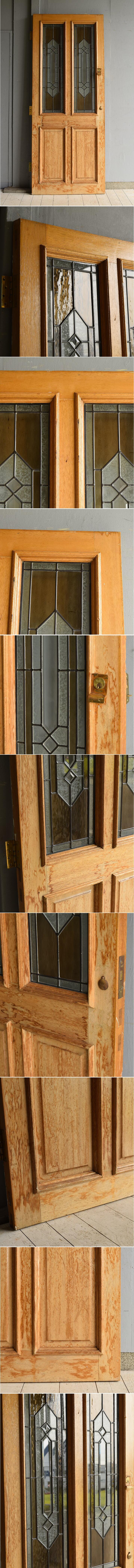 イギリス アンティーク ガラス入り木製ドア 扉 ディスプレイ 建具 7184