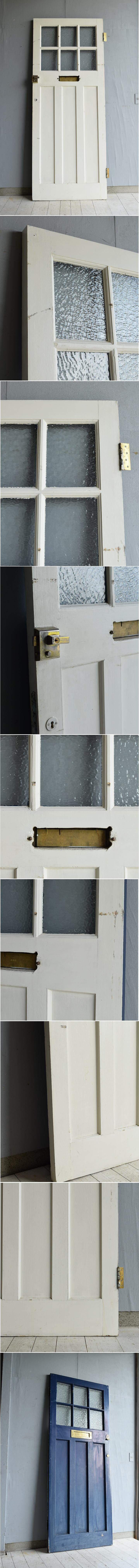 イギリス アンティーク ガラス入り木製ドア 扉 ディスプレイ 建具 7195
