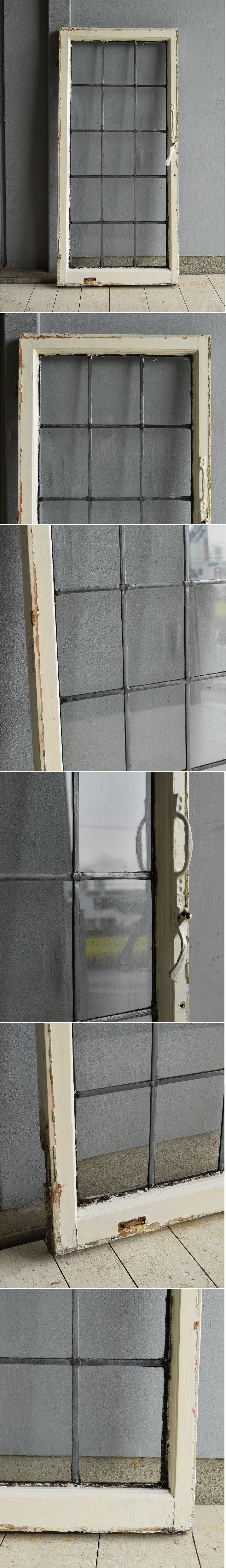 イギリス アンティーク 格子窓 無色透明 7203