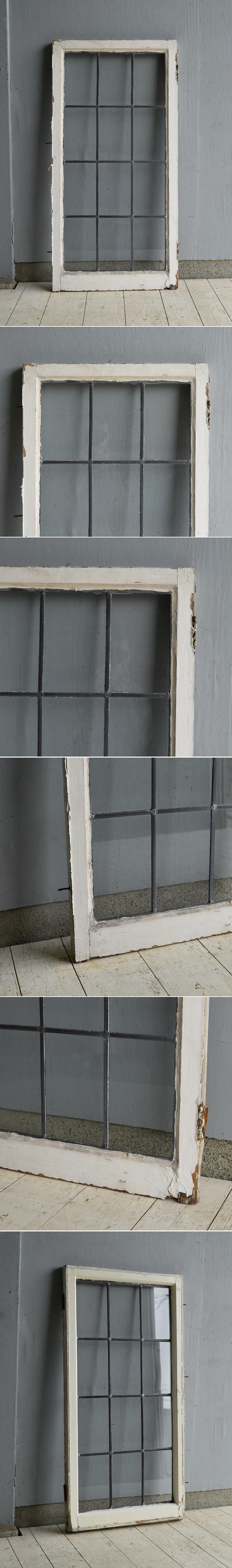 イギリス アンティーク 格子窓 無色透明 7205