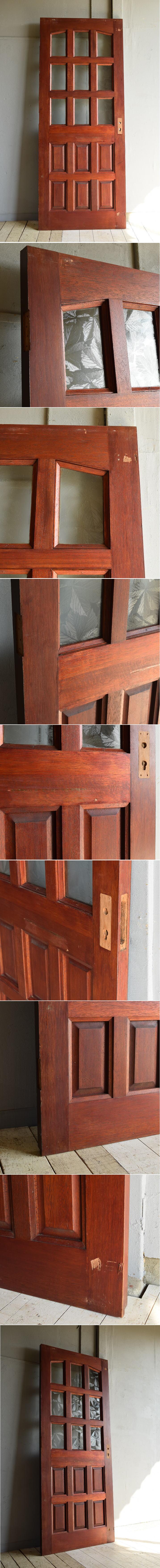 イギリス アンティーク ガラス入り木製ドア 扉 建具 7212