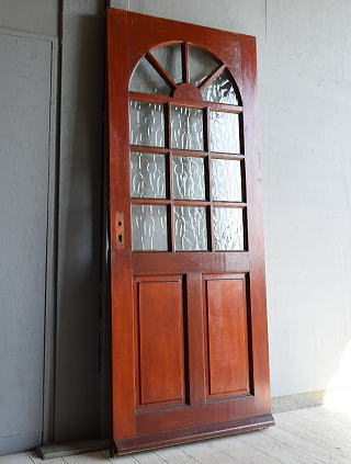 イギリス アンティーク ガラス入り木製ドア 扉 建具 7214