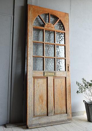 イギリス アンティーク ガラス入り木製ドア 扉 建具 7234