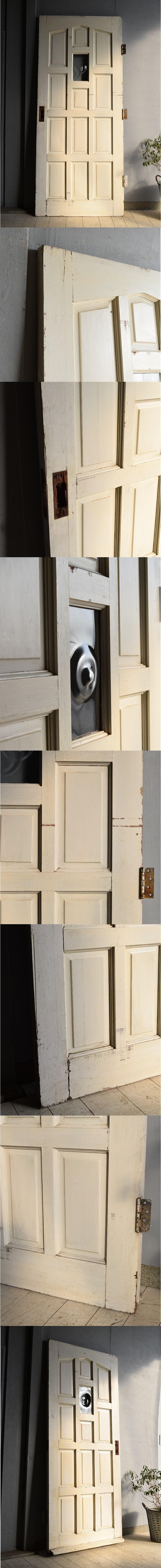 イギリス アンティーク ガラス入り木製ドア 扉 建具 7249