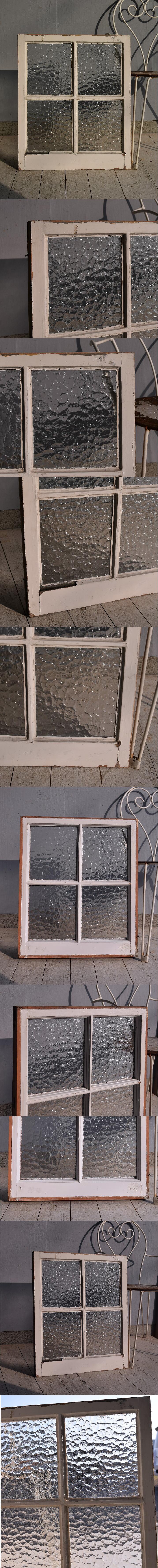 イギリス アンティーク 格子窓 無色透明 7542