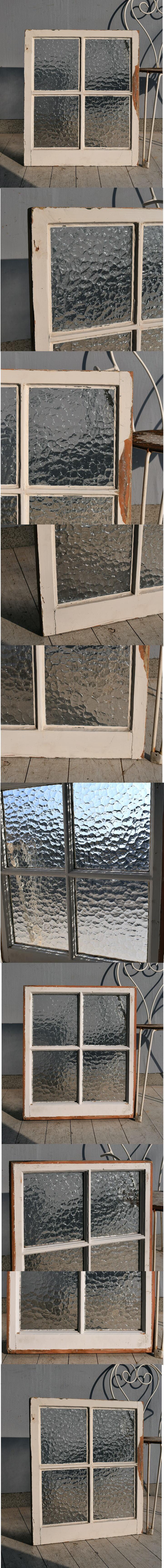 イギリス アンティーク 格子窓 無色透明 7544