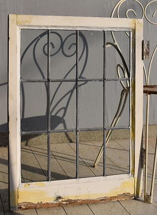 イギリス アンティーク 格子窓 無色透明 7546