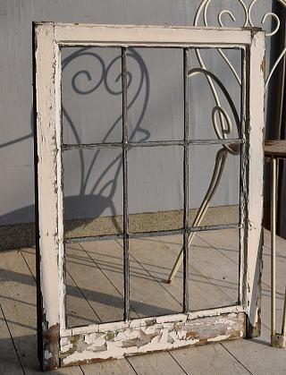 イギリス アンティーク 格子窓 無色透明 7547