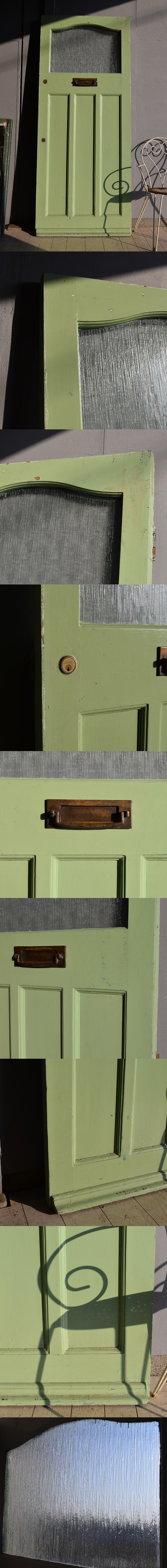 イギリス アンティーク ガラス入り木製ドア 扉 建具 7552