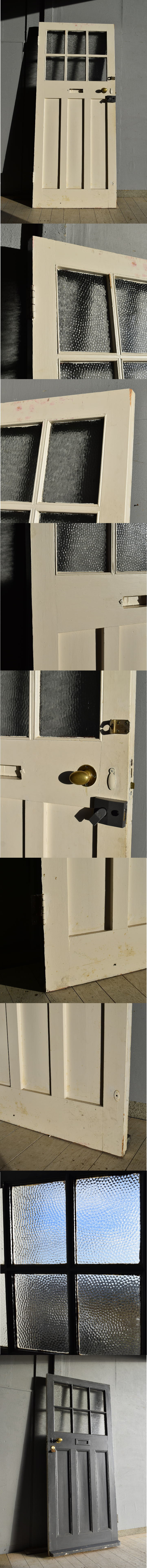 イギリス アンティーク ガラス入り木製ドア 扉 建具 7560