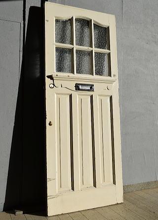 イギリス アンティーク ガラス入り木製ドア 扉 建具 7561