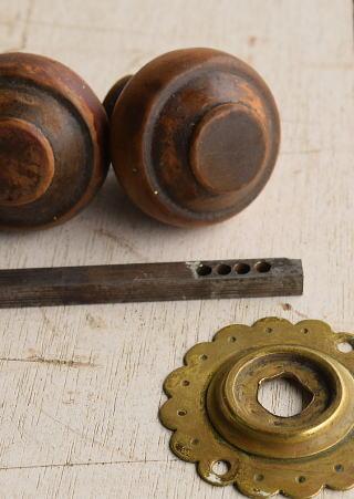 イギリス アンティーク 木製 ドアノブ 建具金物 握り玉 7672