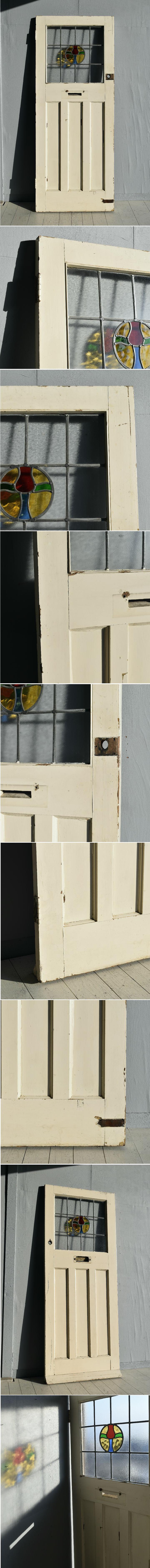 イギリス アンティーク ステンドグラス入り木製ドア 扉 ディスプレイ 建具 7765