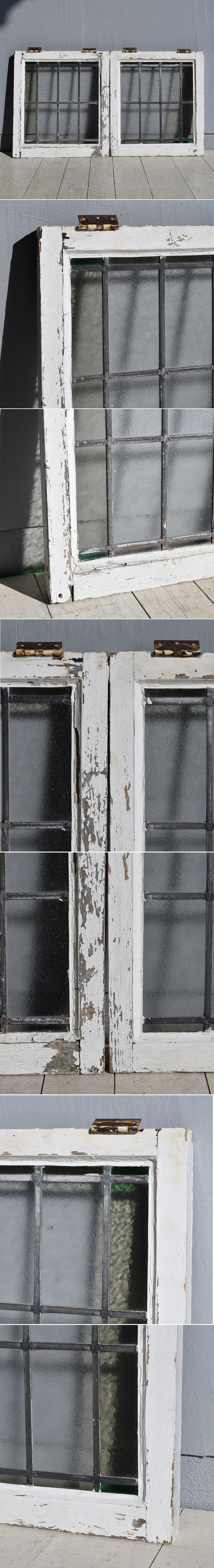 イギリス アンティーク ステンドグラス窓×2 建具 7808
