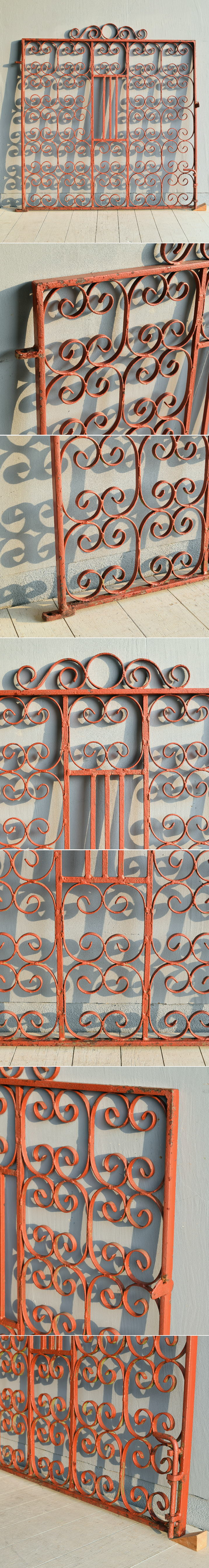 イギリス アンティーク アイアンフェンス ゲート柵 ガーデニング 7849