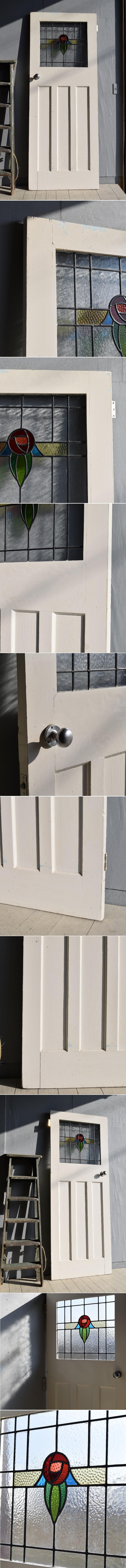イギリス アンティーク ステンドグラス入り木製ドア 扉  建具 7875