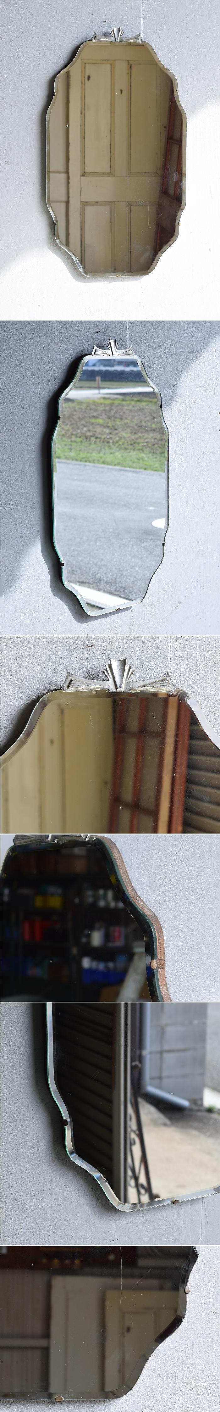 イギリス アンティーク  壁掛け ミラー 鏡 7876