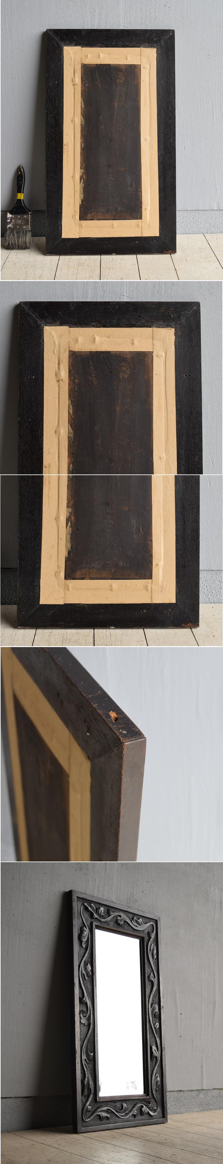 イギリス アンティーク   木製枠 ミラー 鏡 7879