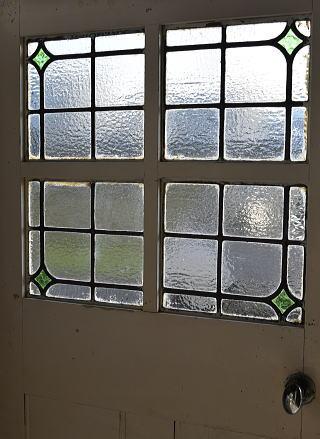 イギリス アンティーク ステンドグラス入り木製ドア 扉 建具 7886