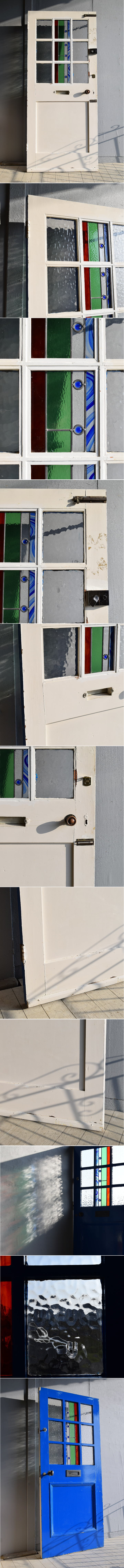 イギリス アンティーク ステンドグラス入り木製ドア 扉 建具 7887