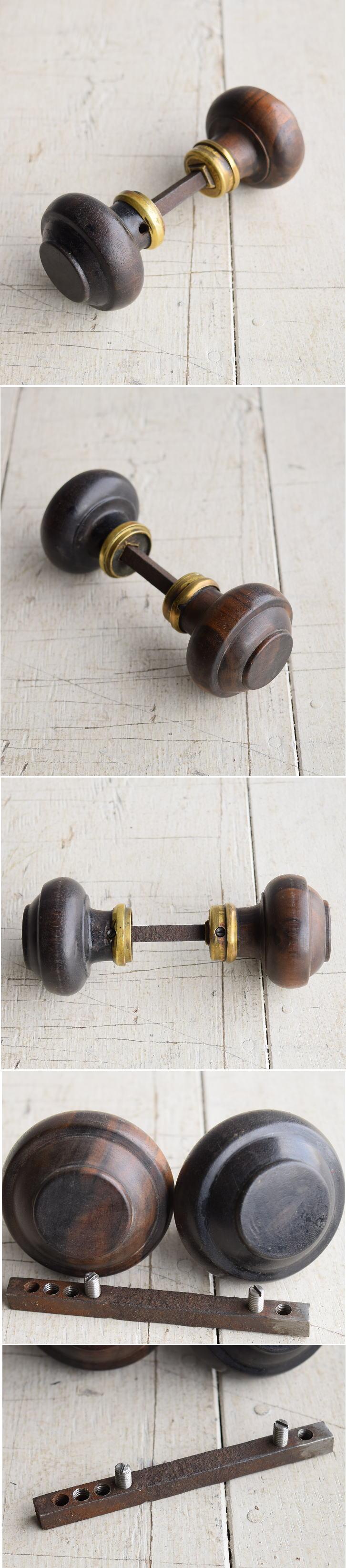 イギリス アンティーク 木製 ドアノブ 建具金物 握り玉 7890