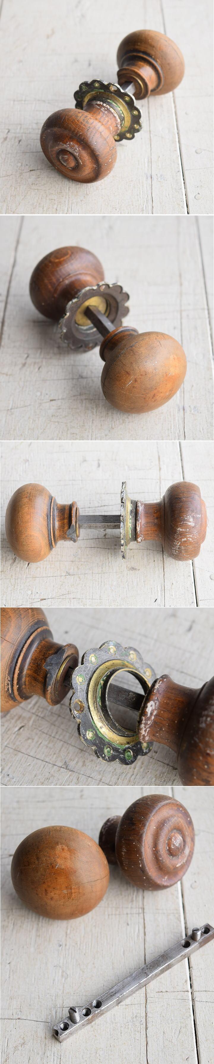 イギリス アンティーク 木製 ドアノブ 建具金物 握り玉 7891