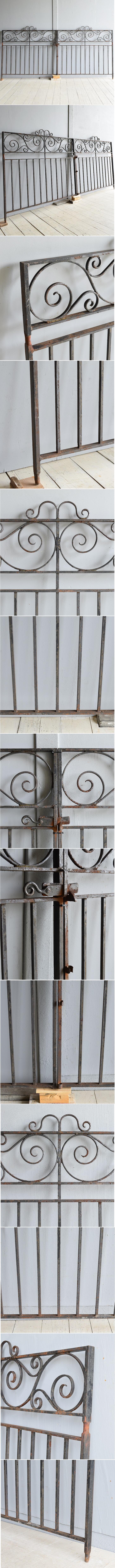 イギリス アンティーク アイアンフェンス ゲート柵 7929