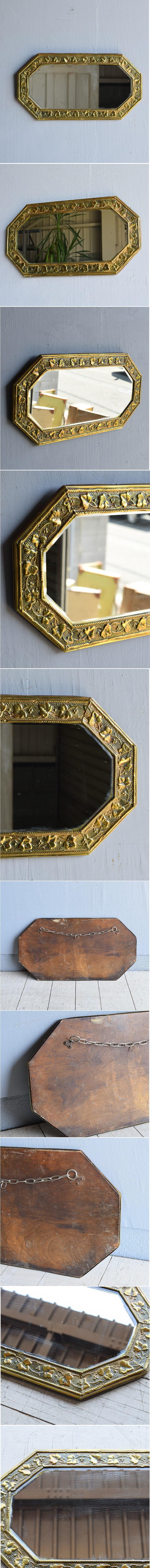 イギリス アンティーク  壁掛け ミラー 鏡  7945